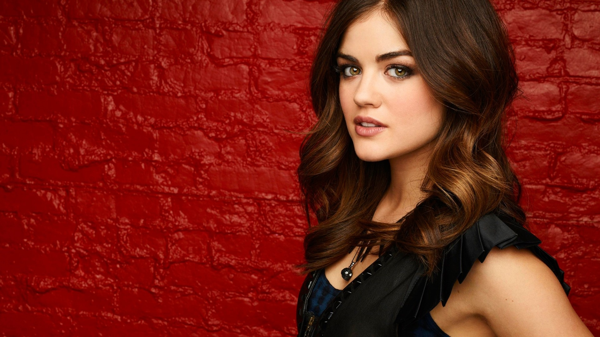 Lucy Hale Red Wall Wallpapers x