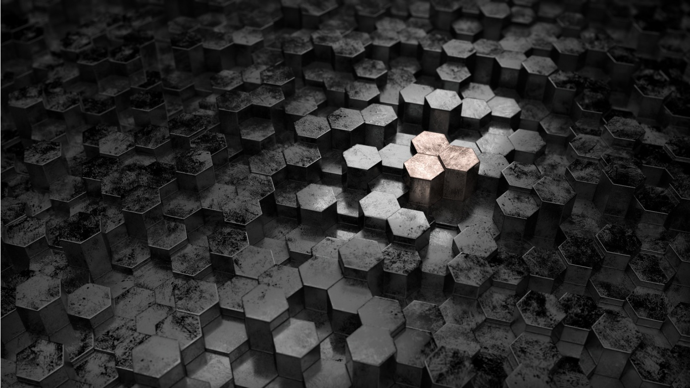 abstract metal hexagon 3d wallpapers - 1366x768 - 325925