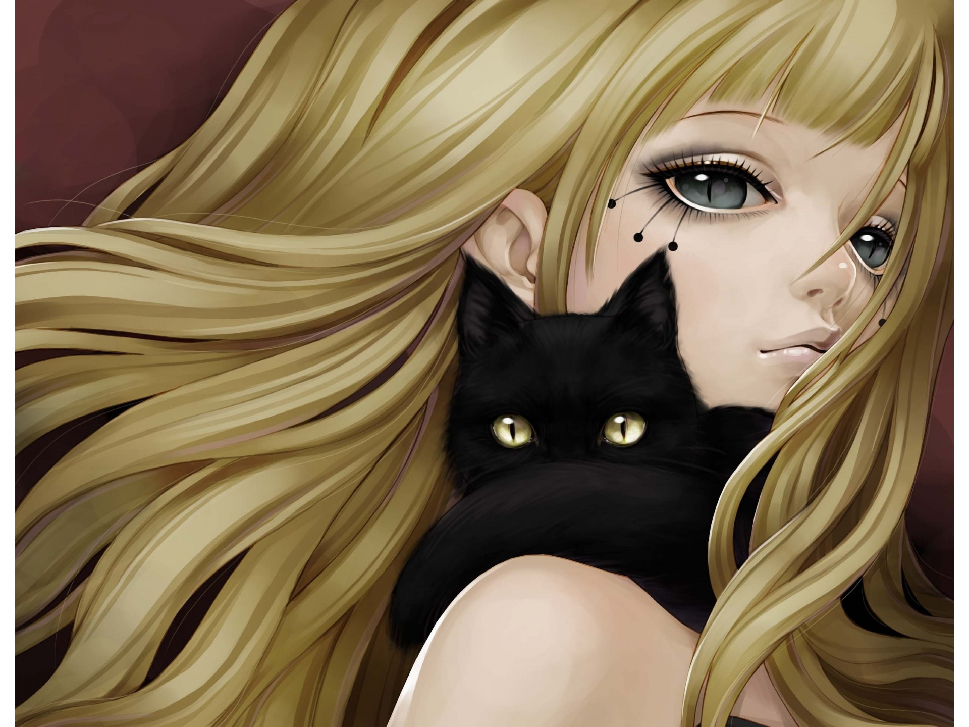 Anime girl and black cat 1920 x 1440 download close