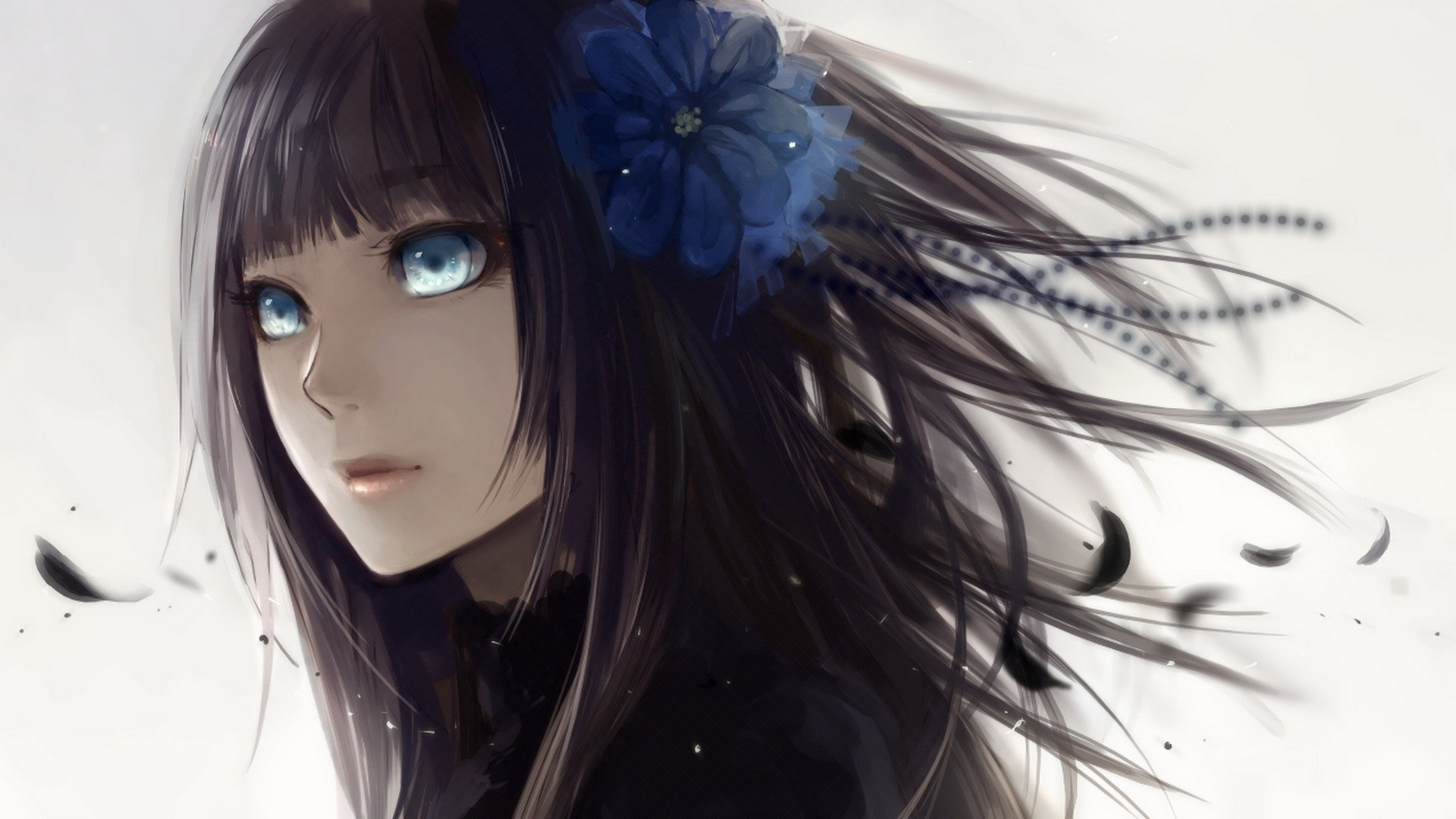 Anime girl with black hair and blue eyes 1920 x 1080 download