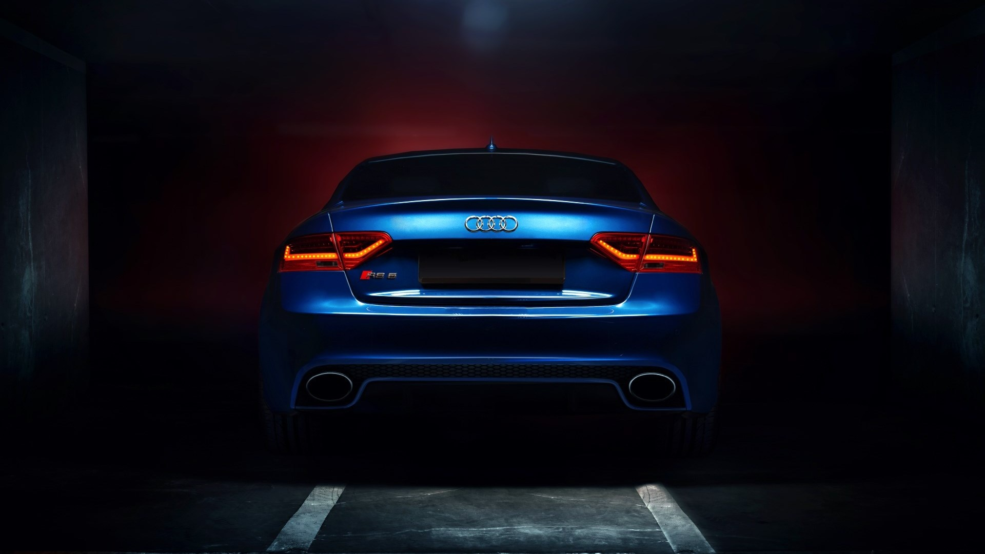 Audi Rs5 Coupe Tuning Blue Car Backlights Glow Wallpapers
