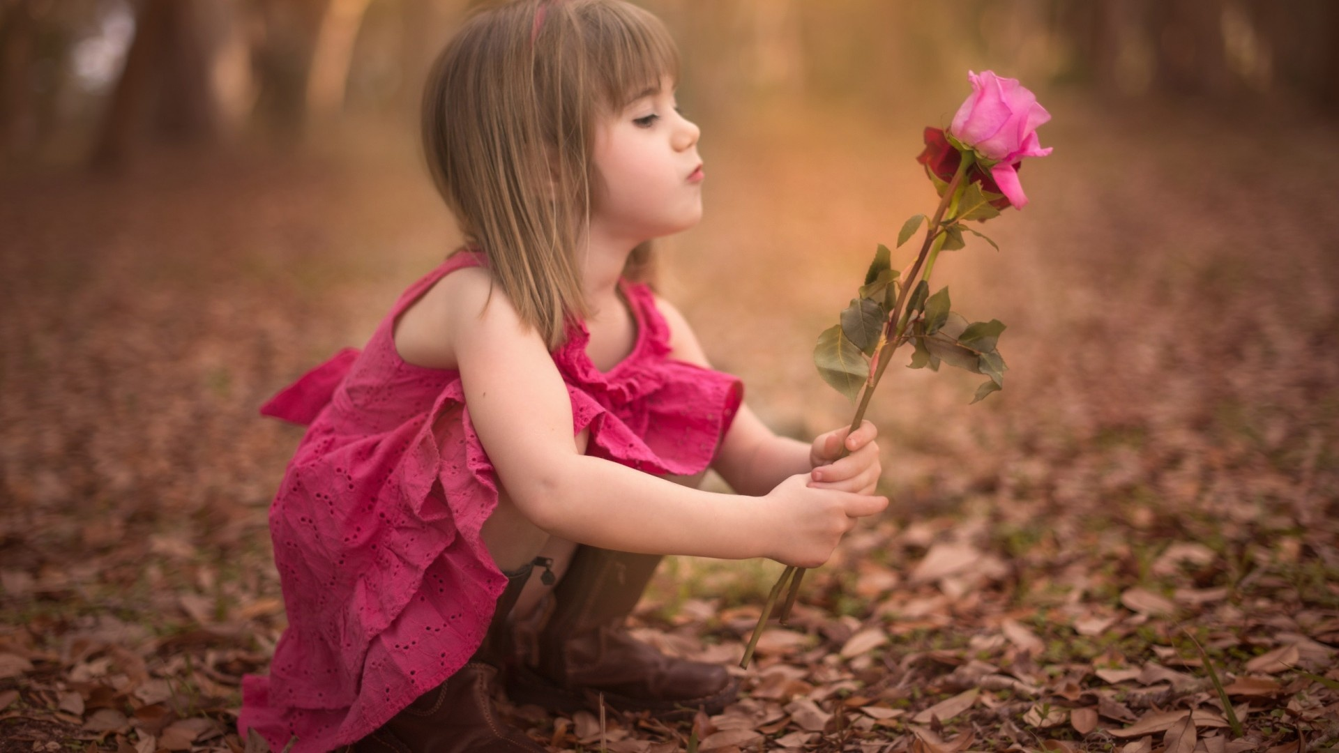 Autumn Baby Girl Rose Flower Wallpapers - 1920x1080 - 364719