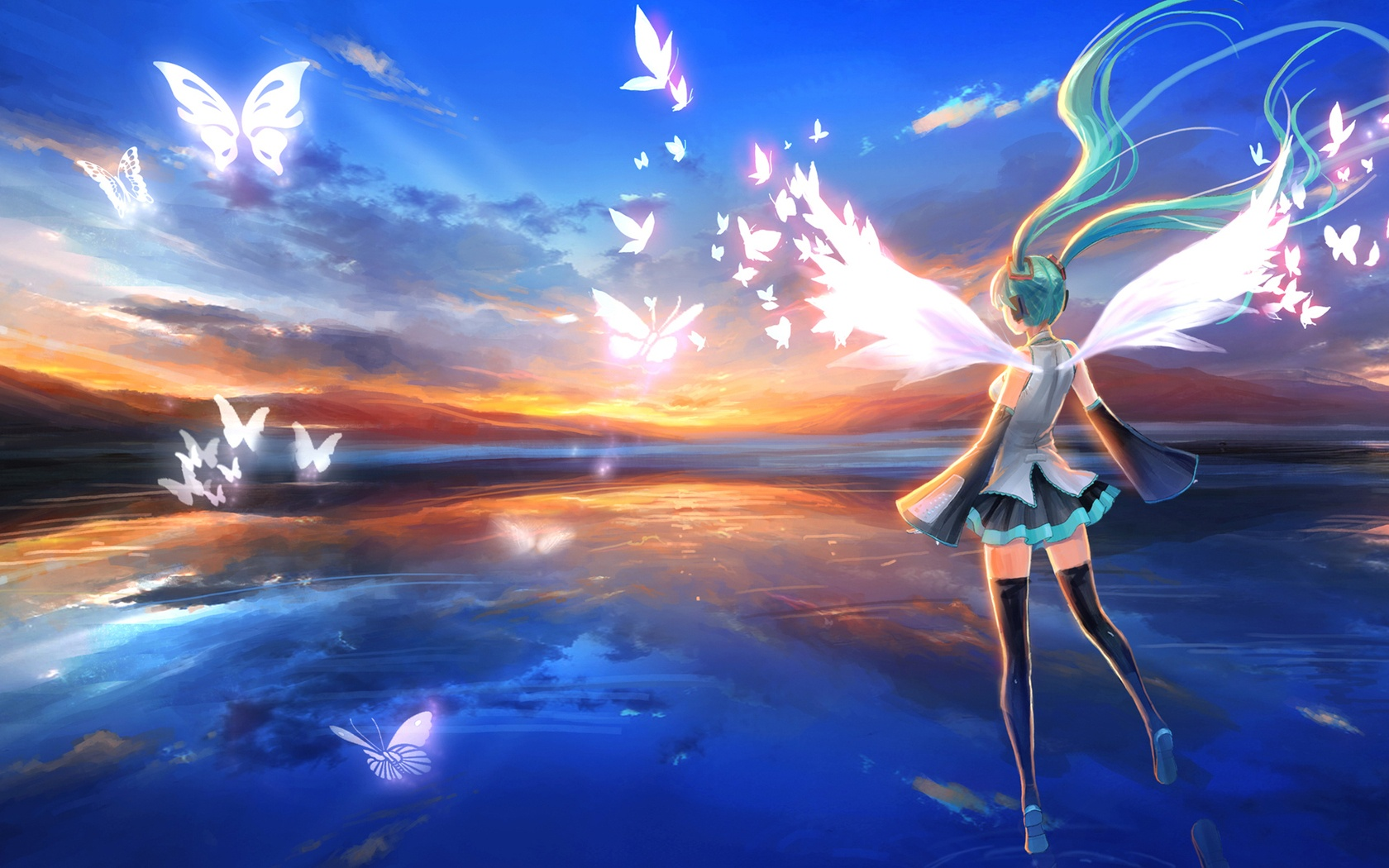 Beautiful Anime Girl And Butterfly