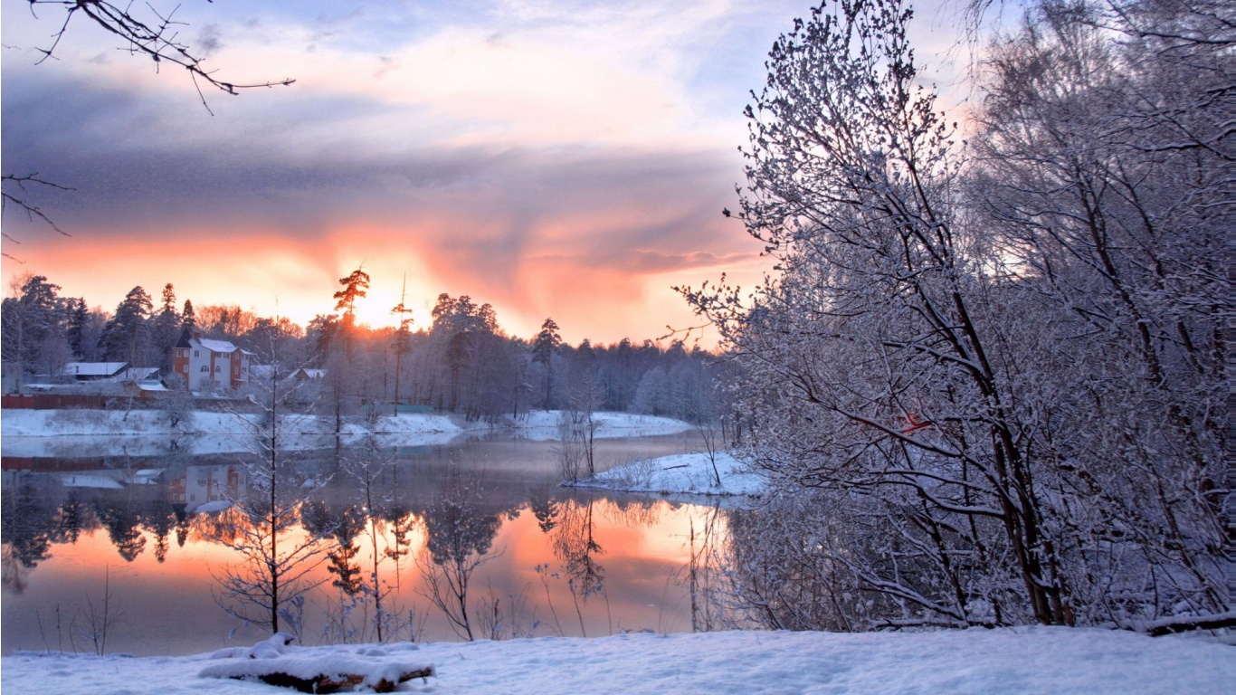 Beautiful Winter Cold And Morning Lake Wallpapers ...