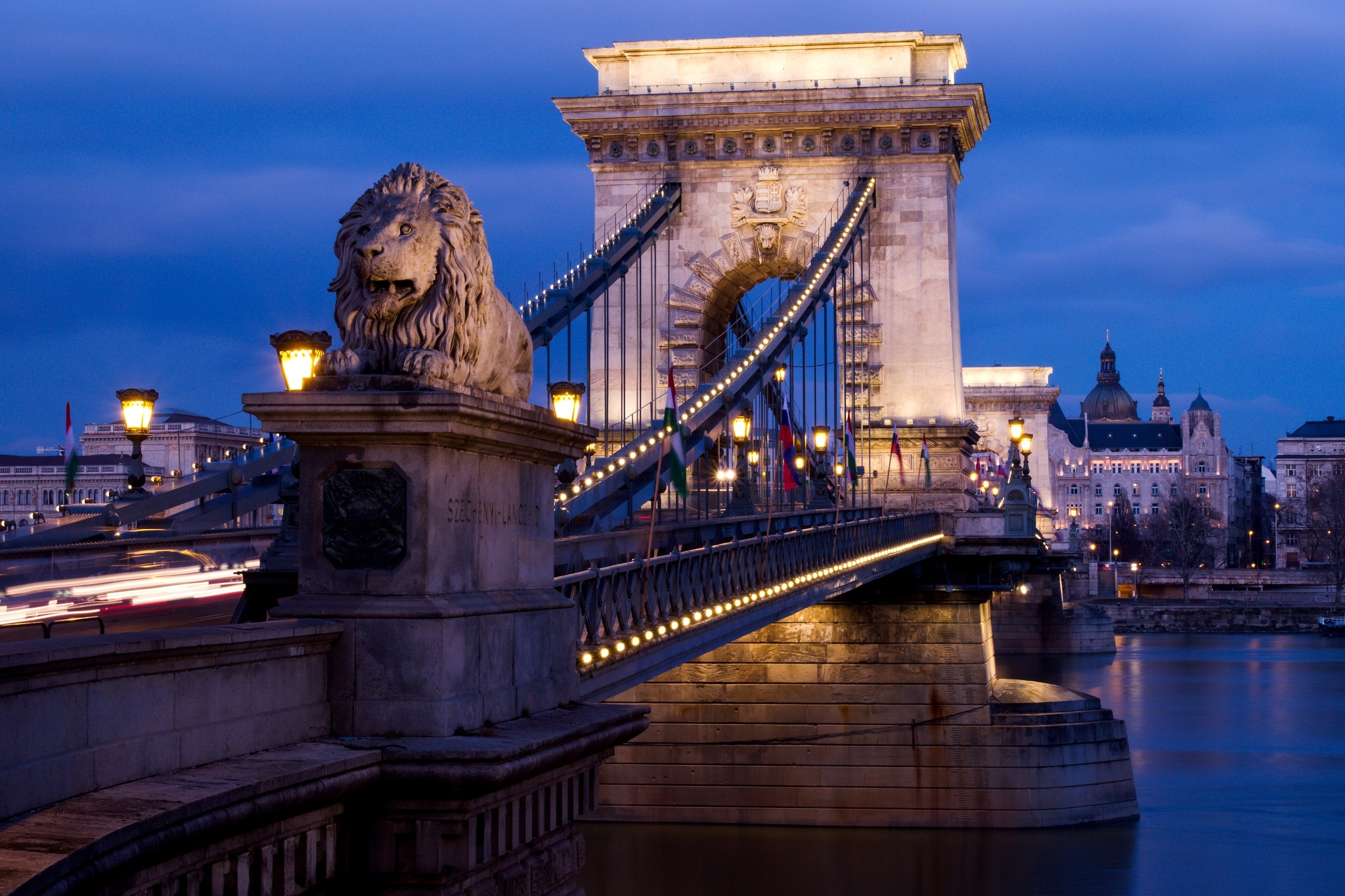 Chain Bridge Budapest At Night Wallpapers 2048x1365