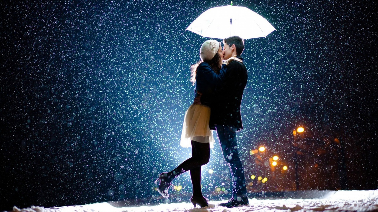 Love Wallpaper 720x1280 : couple Snow Rain Love Wallpapers - 1280x720 - 540697