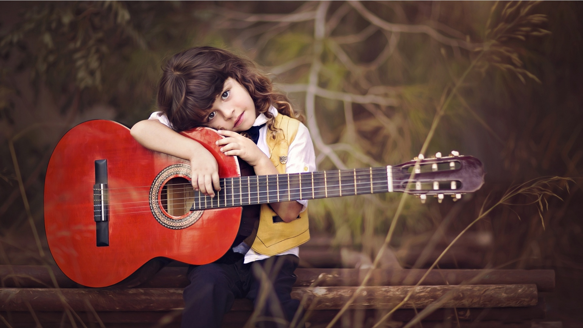 cute boy hold on red guitar wallpapers 1920x1080 444839