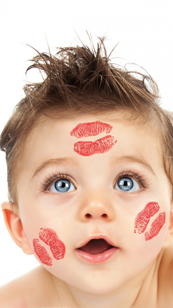 cute boy with lipstick on his face wallpapers 720x1280 250261