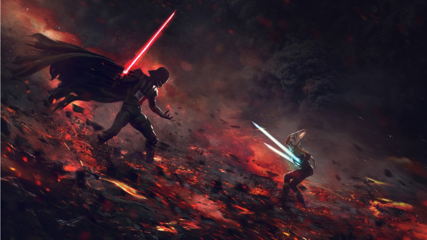 darth vader and lightsaber star wars wallpapers - 1366x768 - 265488