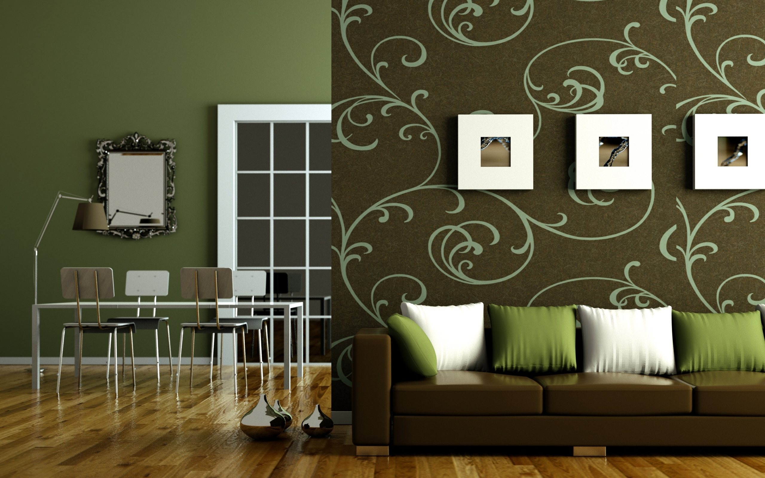 Flat interior design wallpapers 2560x1600 2111877 for Green and brown living room walls