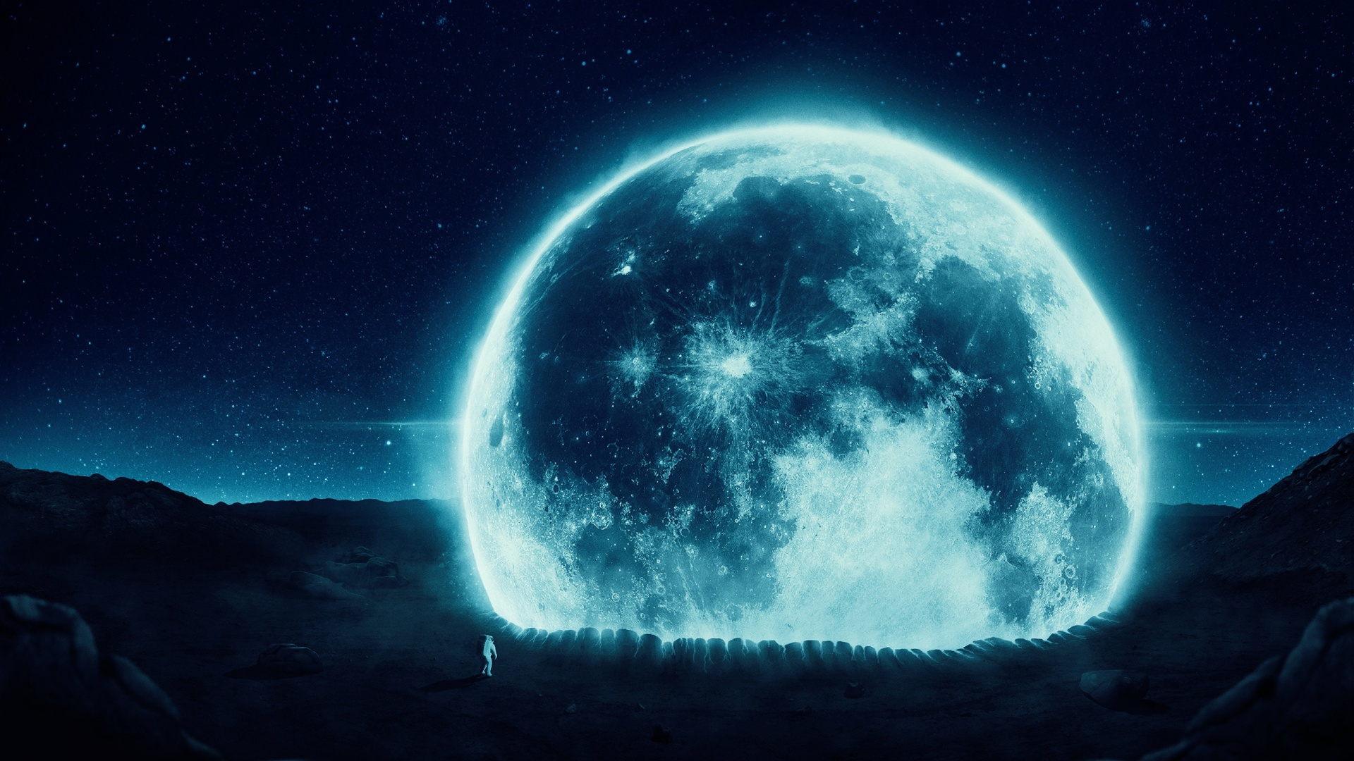 full moon and astronaut