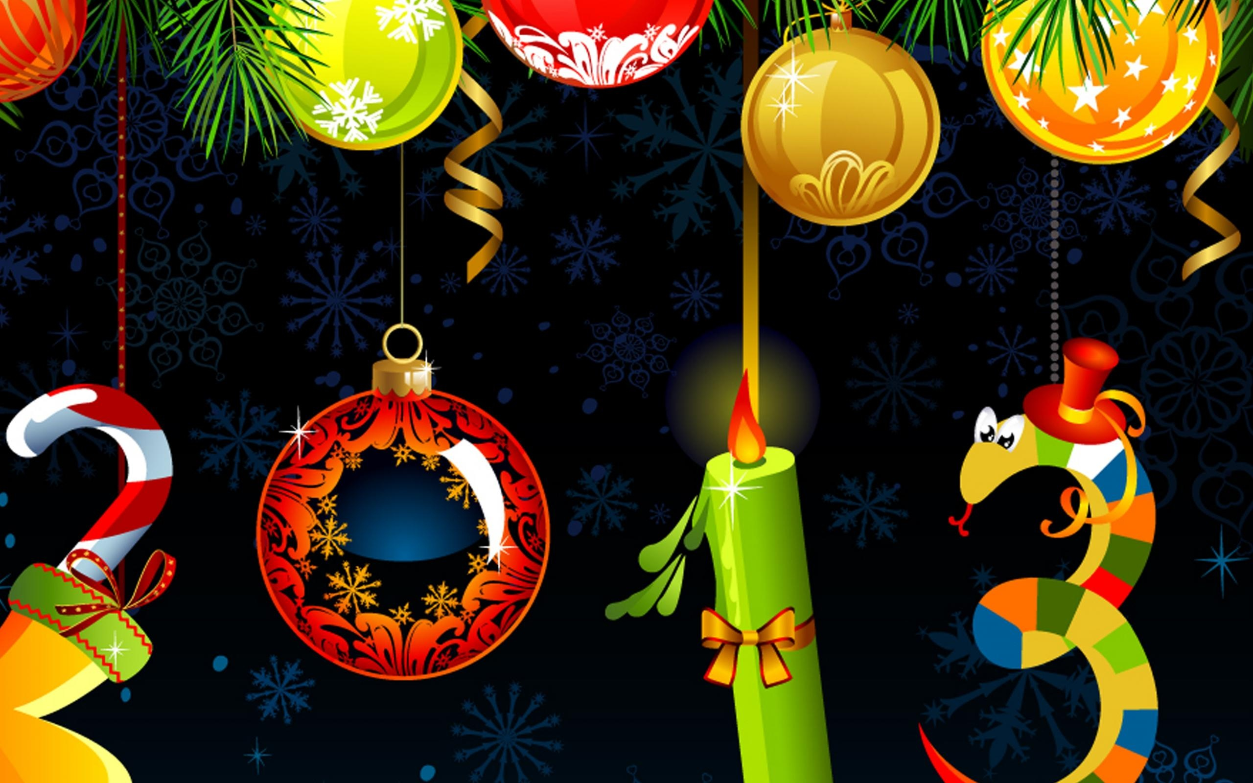 Happy New Year Decorations Wallpapers - 2560x1600 - 655250