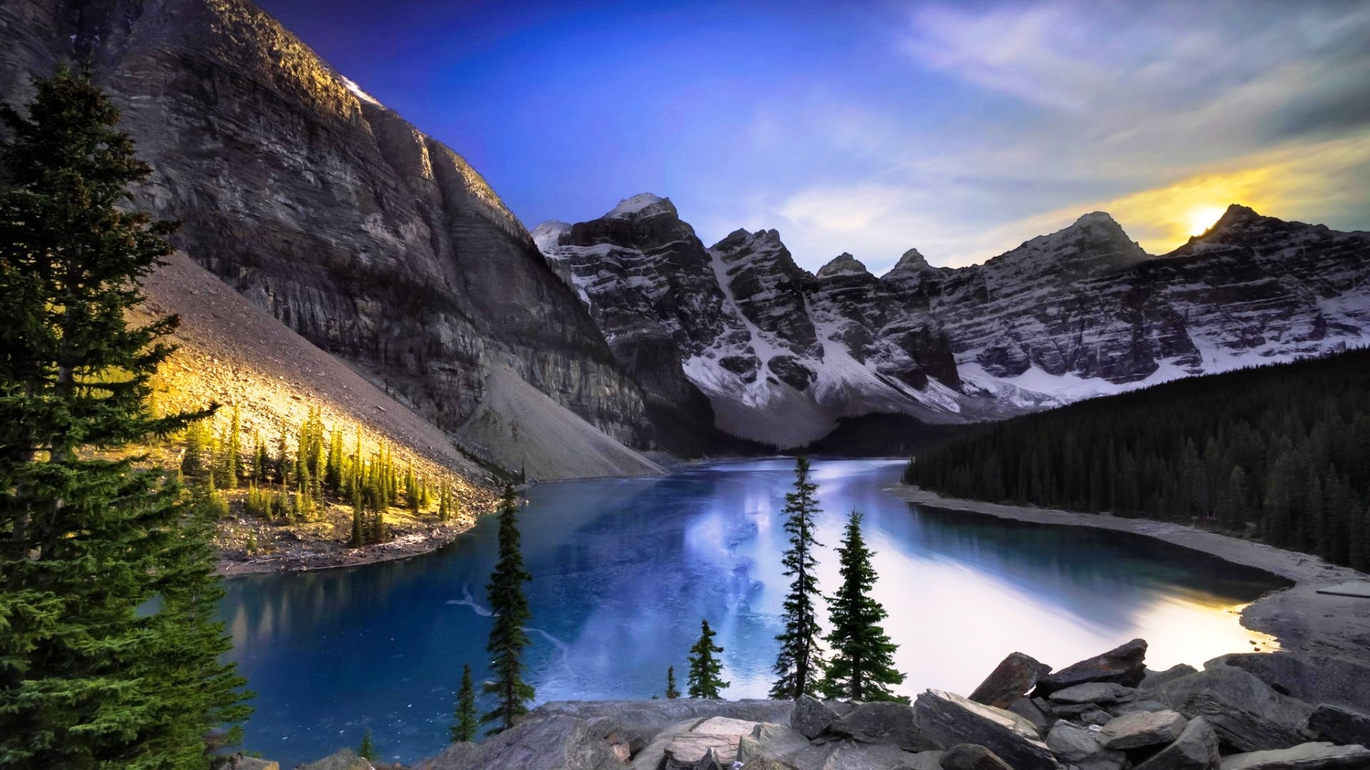 lake alberta mountain and forest wallpapers - 1920x1080