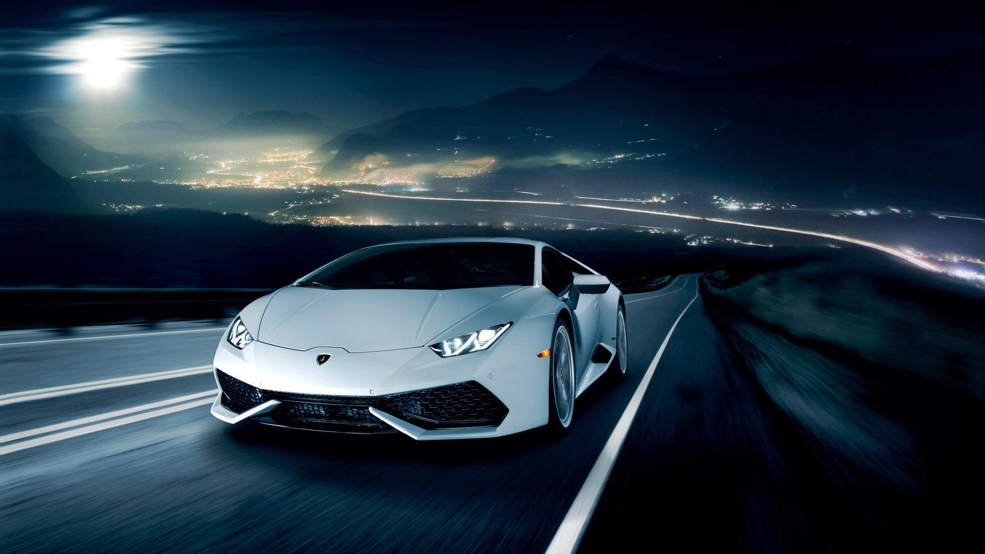 lamborghini huracan in the night wallpapers 1920x1080. Black Bedroom Furniture Sets. Home Design Ideas