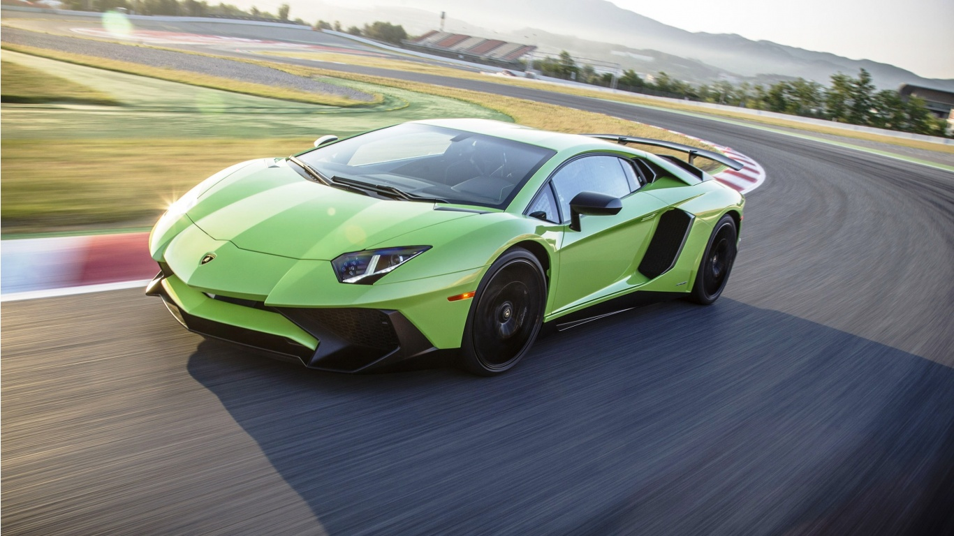 Light Green Lamborghini Aventador Lp750 4 Sv Wallpapers 1366x768 325249