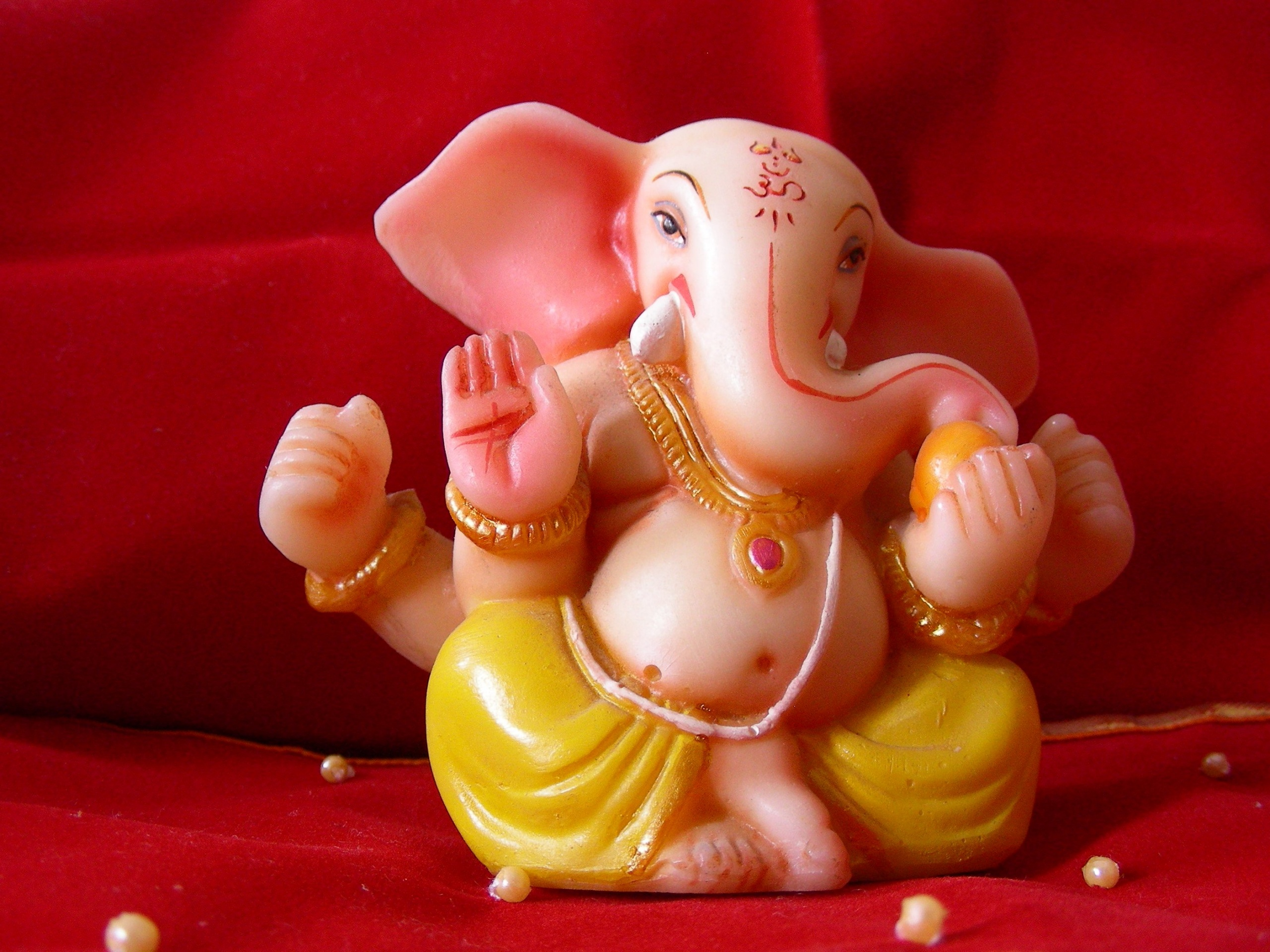 Lord Ganpati Bappa Red Background Wallpapers