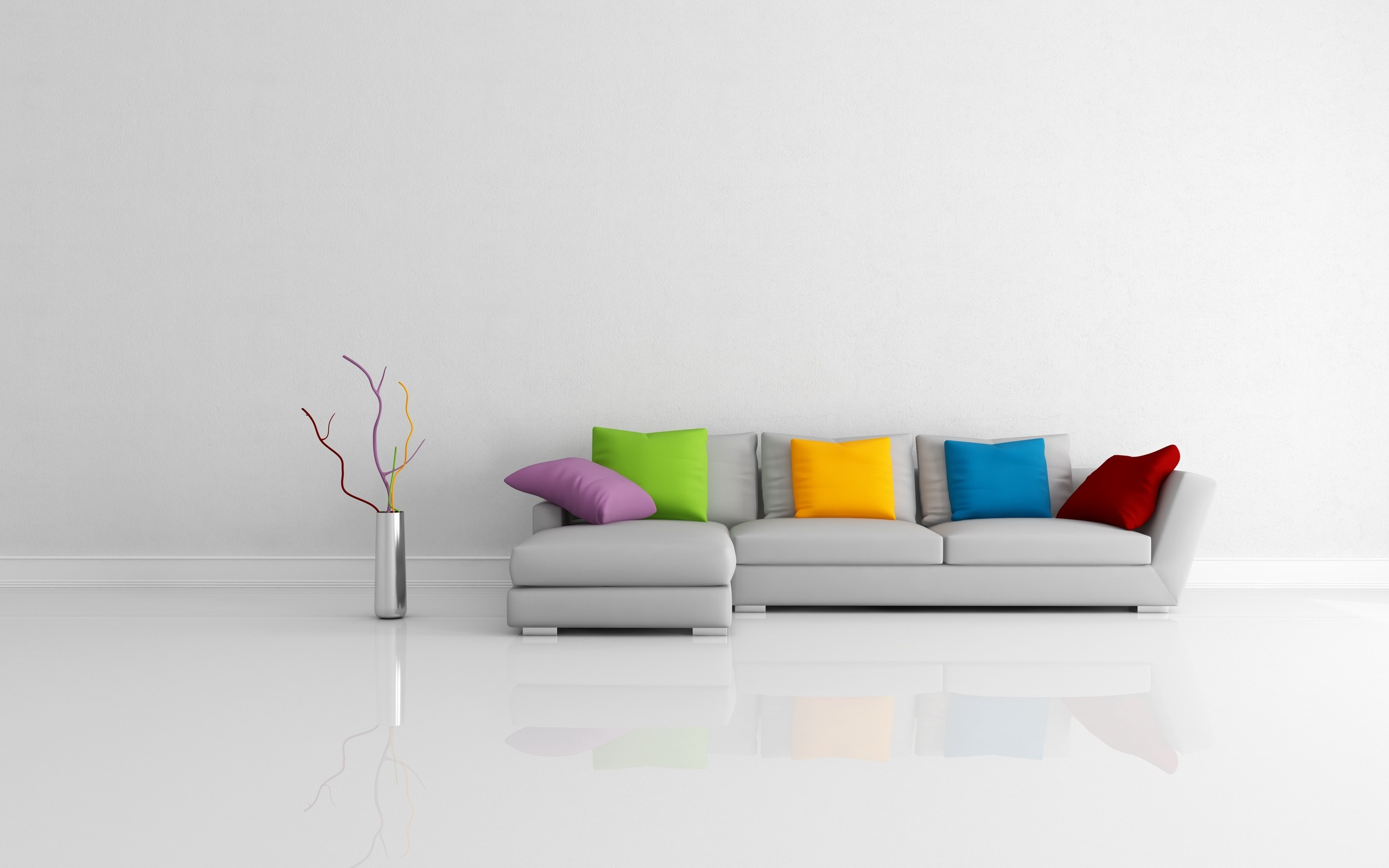 Modern Sofa Colorful Pillows Wallpapers