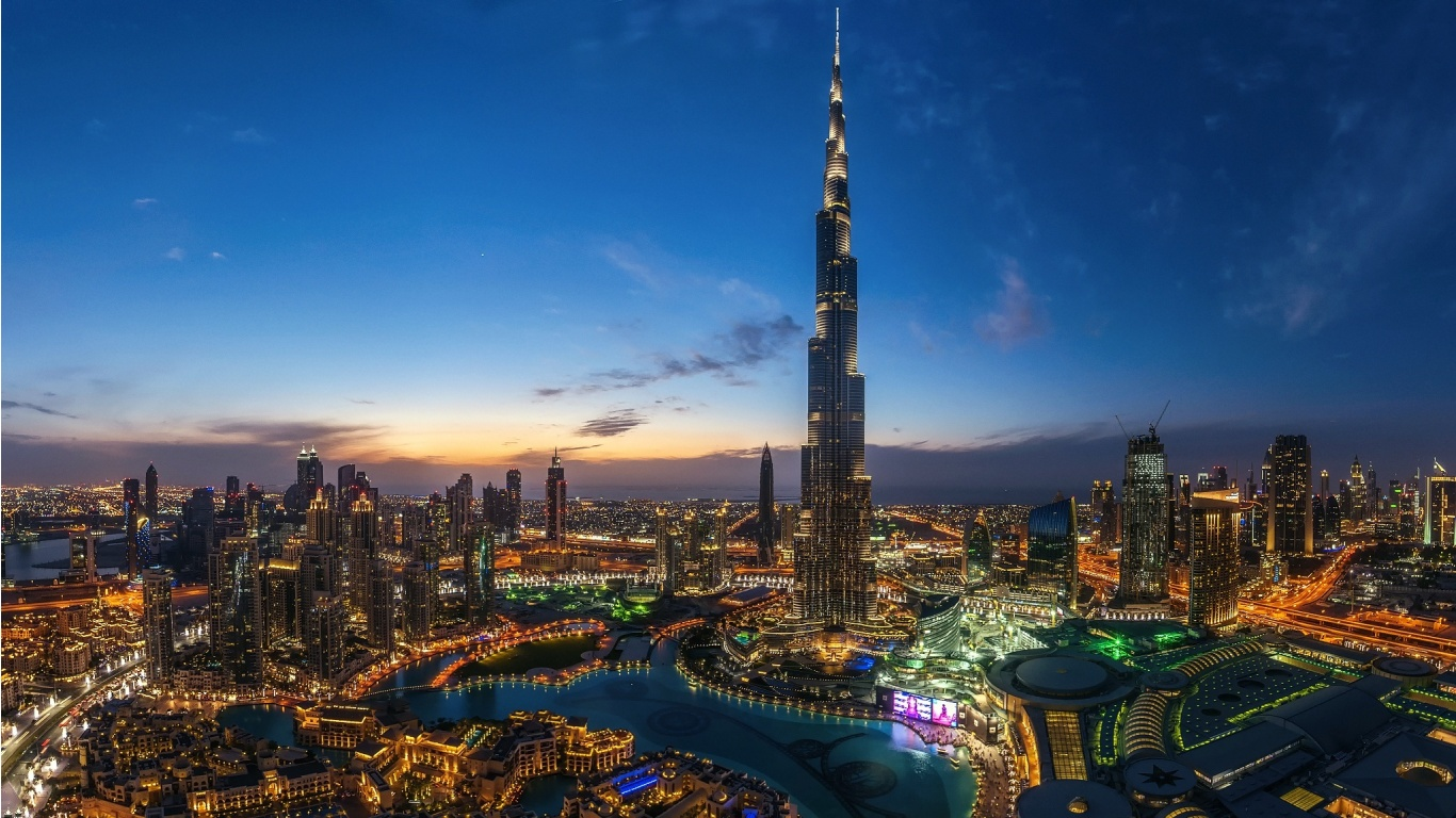 Night Dubai City Burj Khalifa Light Wallpapers - 1366x768