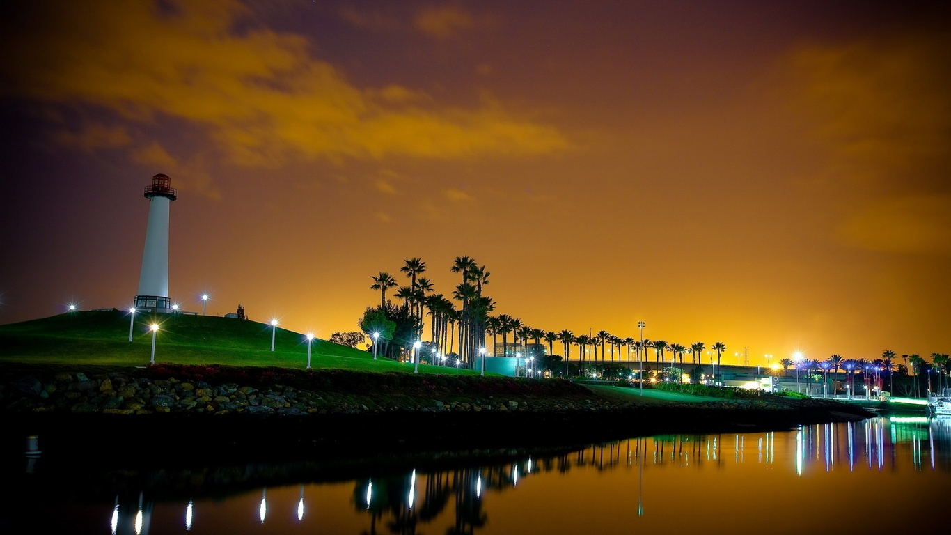 Must see Wallpaper Night Lighthouse - night_lighthouse_river-1366x768  Trends-383168.jpg