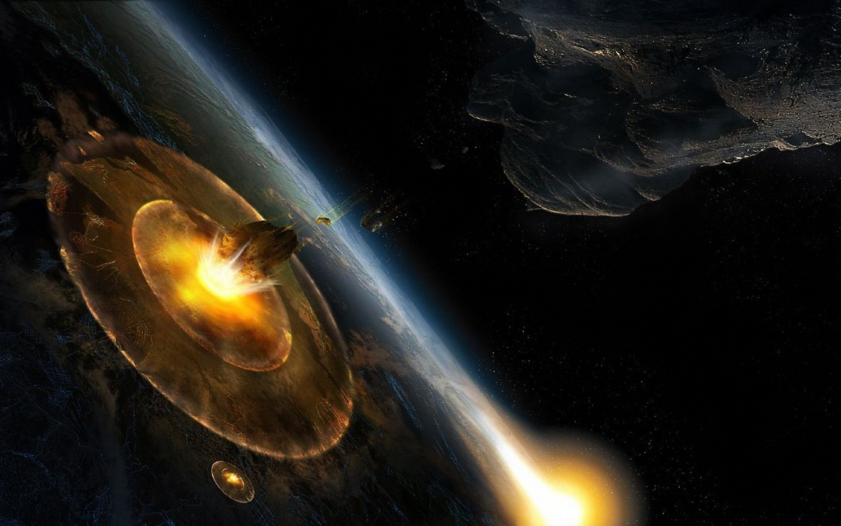 Planet Asteroid Impact Wallpapers - 1680x1050 - 461345