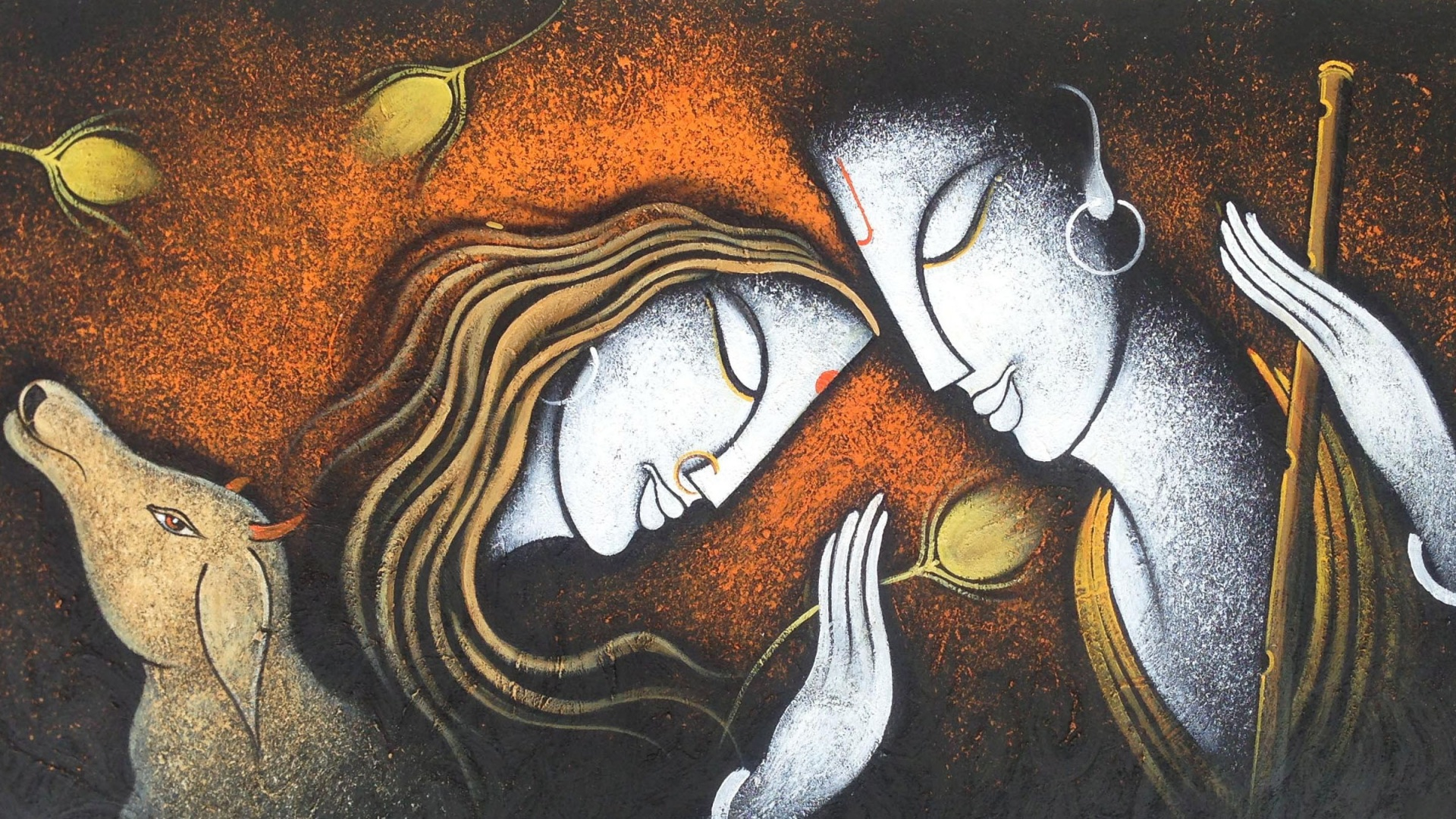 Radha Krishna Painting Wallpapers - 1920x1080 - 1003485