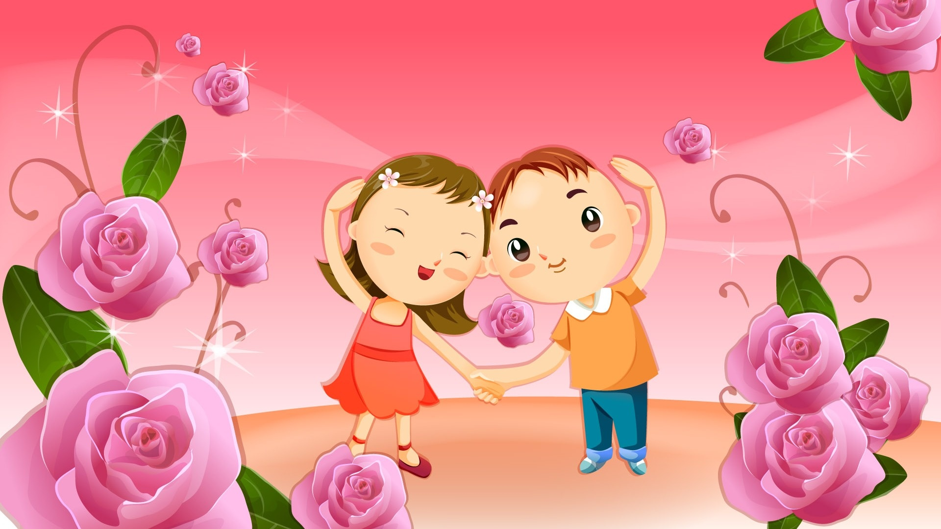 Vector Love cartoon Wallpaper : Romantic Vector cartoons Wallpapers - 1920x1080 - 368216