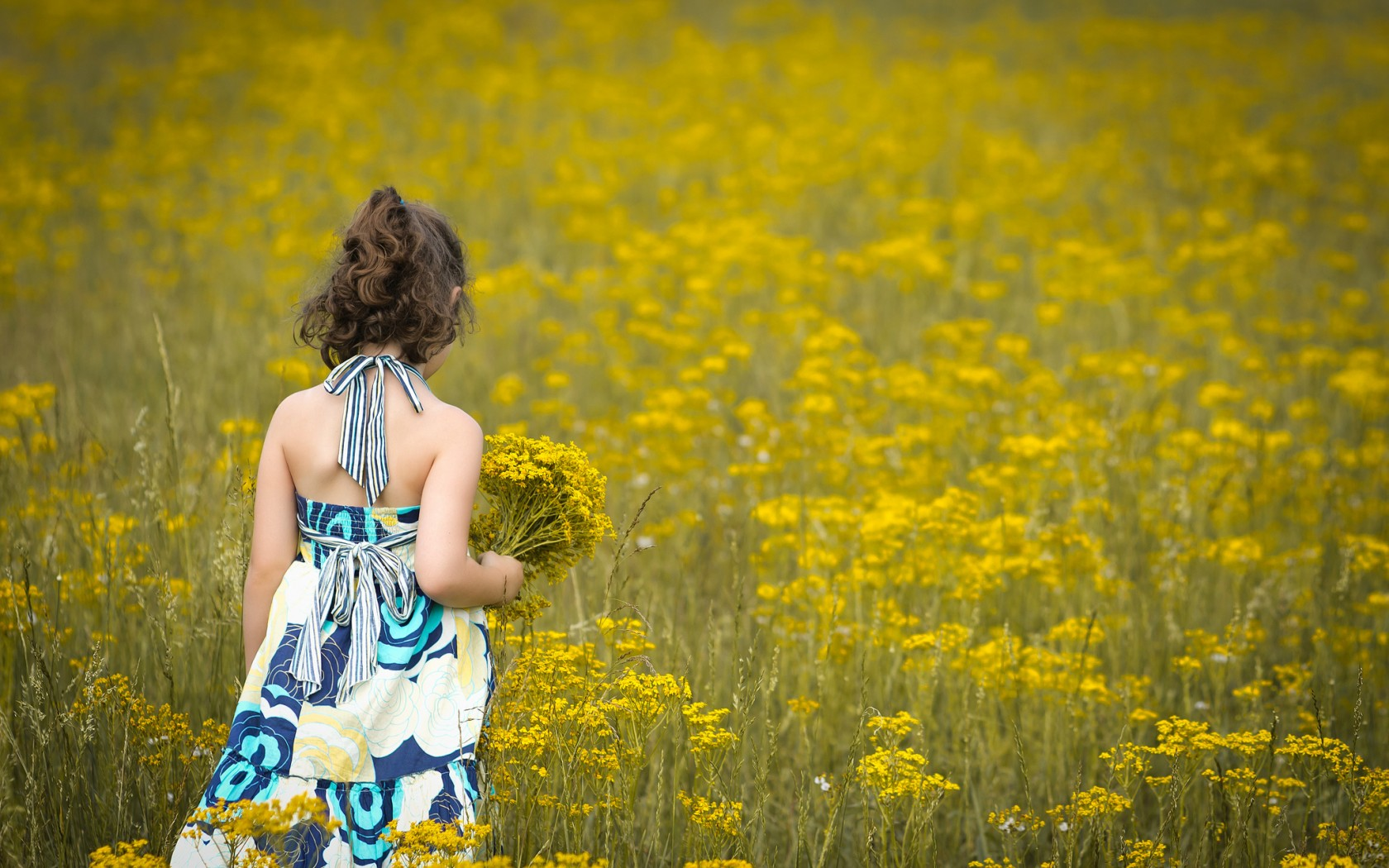 Sad Girl In Field Of Flowers Sad Girl In Yellow Flowers
