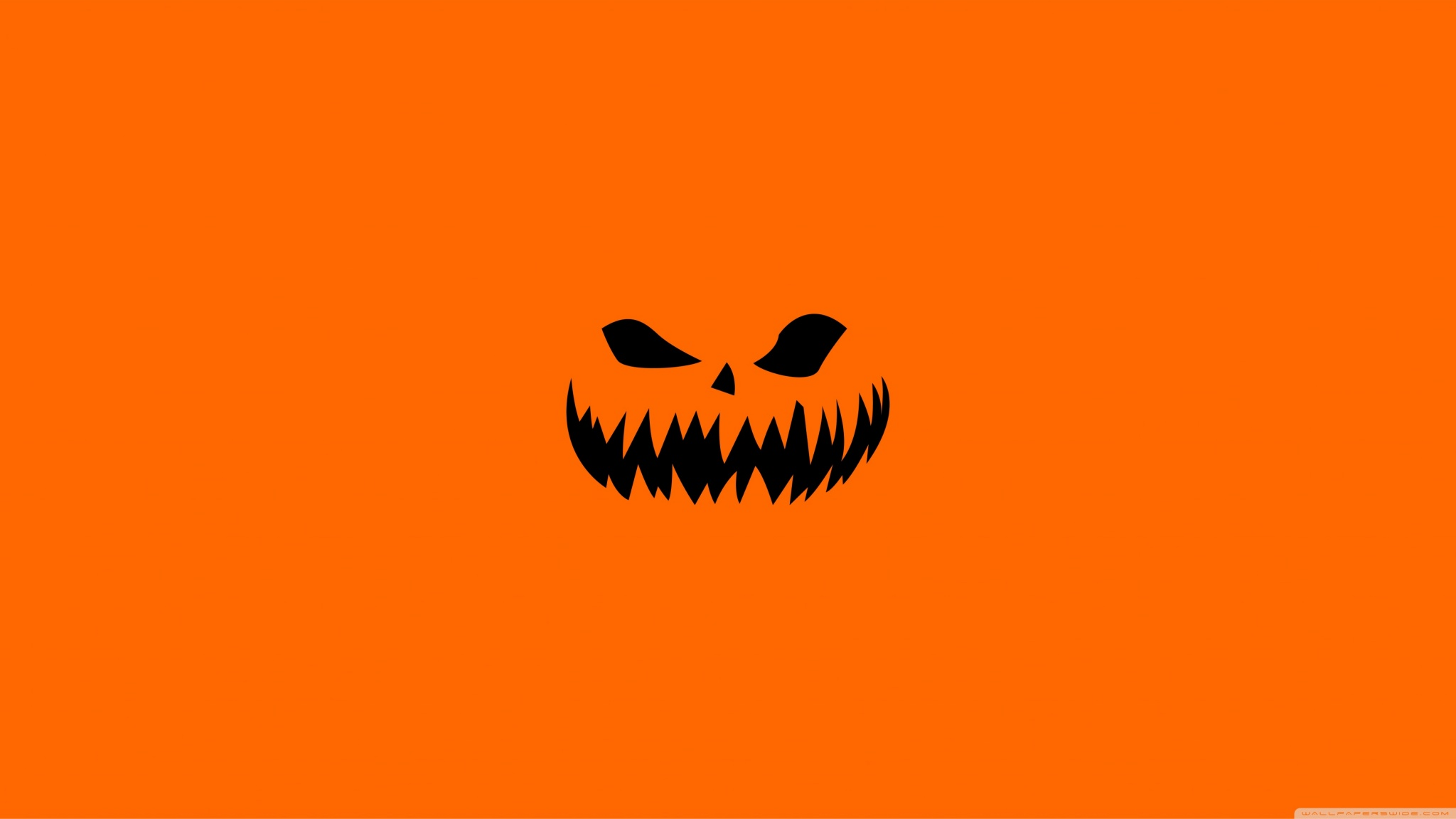 Scary Halloween Face On Orange Background Wallpapers