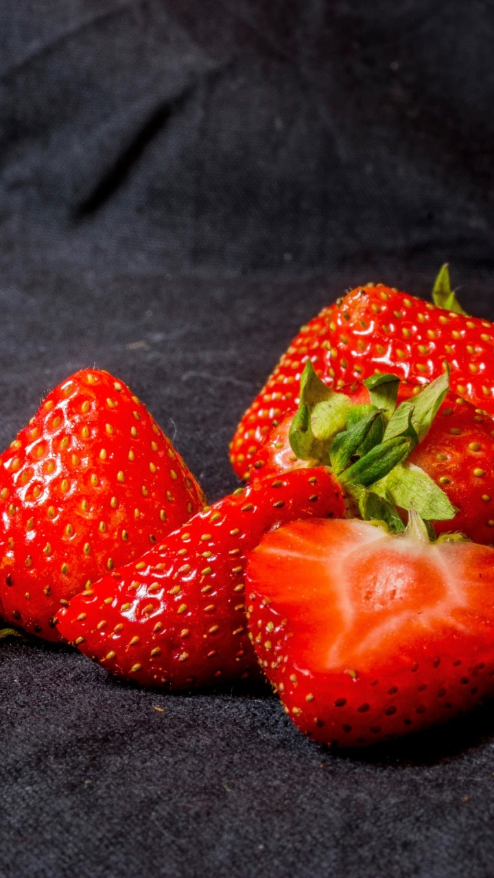 Background image 720x1280 - Strawberry With Black Background