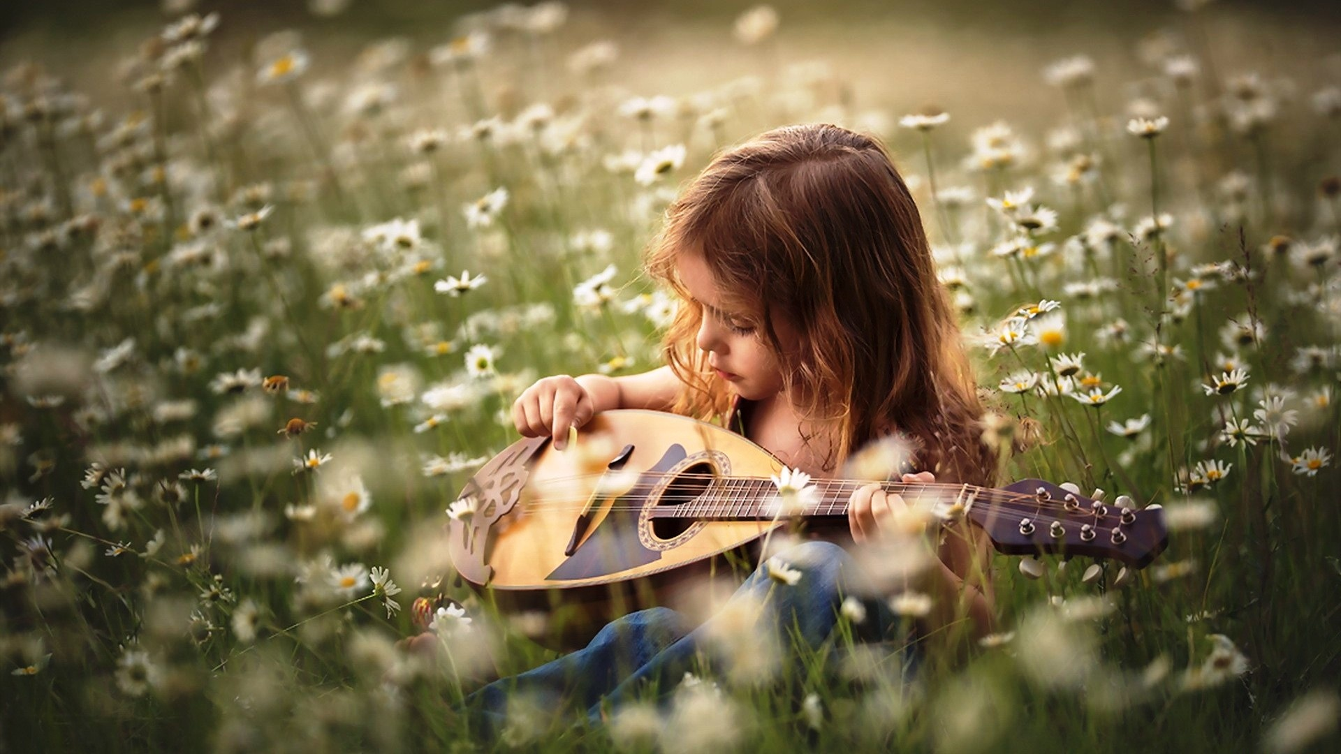 Summer Girl Playing Mini Guitar Wallpapers - 1920x1080 ...