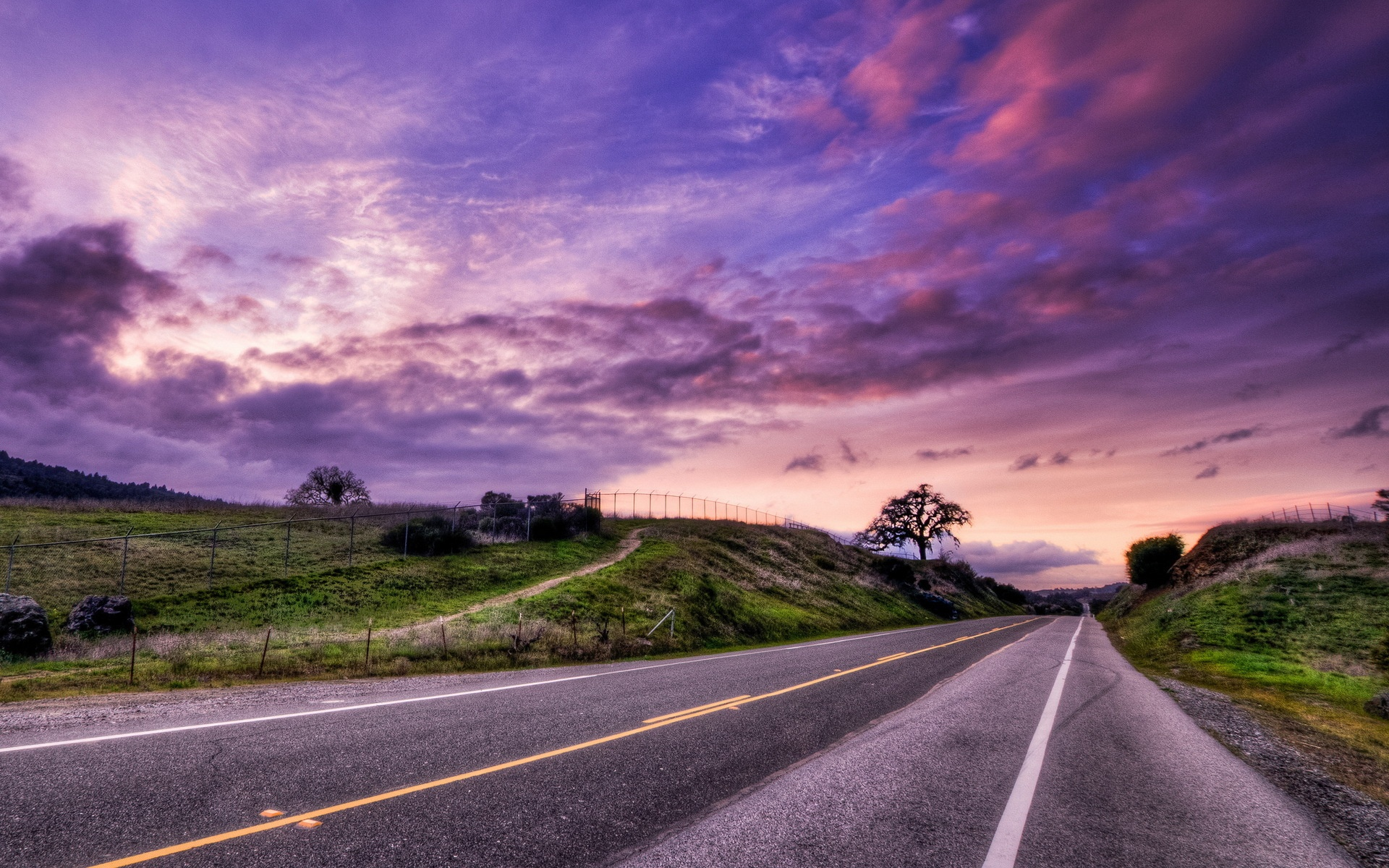 Sunset Road Landscape Wallpapers