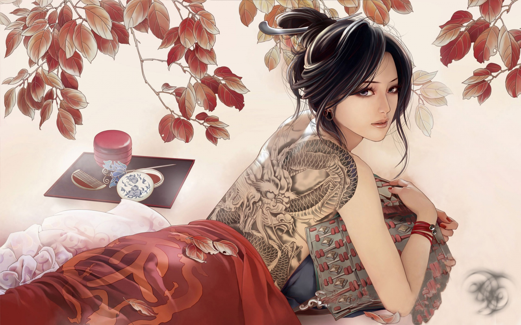 Tattooed anime girl 1680 x 1050 download close