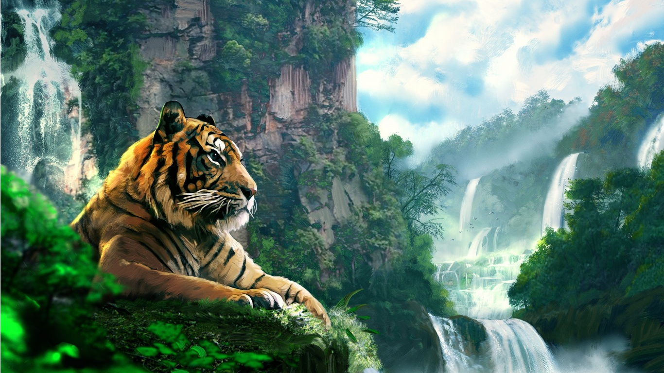 tiger forest waterfall art wallpapers - 1366x768 - 444638