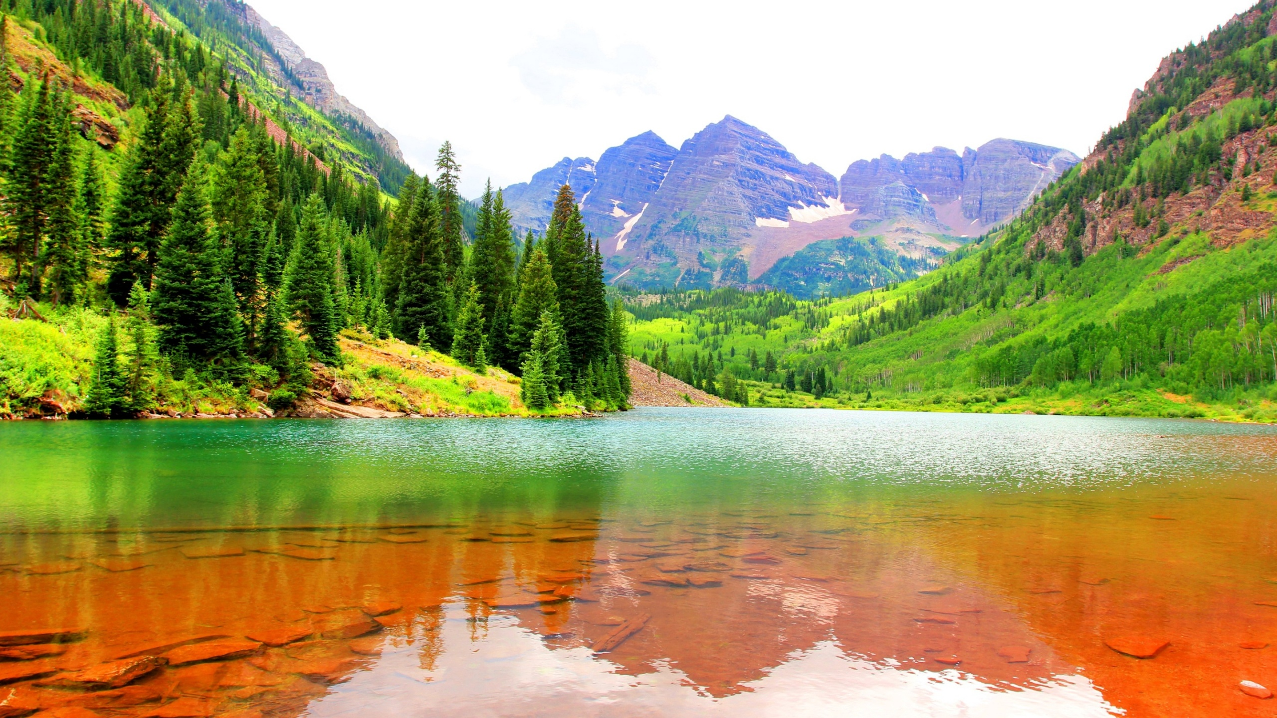 Usa Mountains Lake Fir Maroon Bells Wallpapers 2560x1440