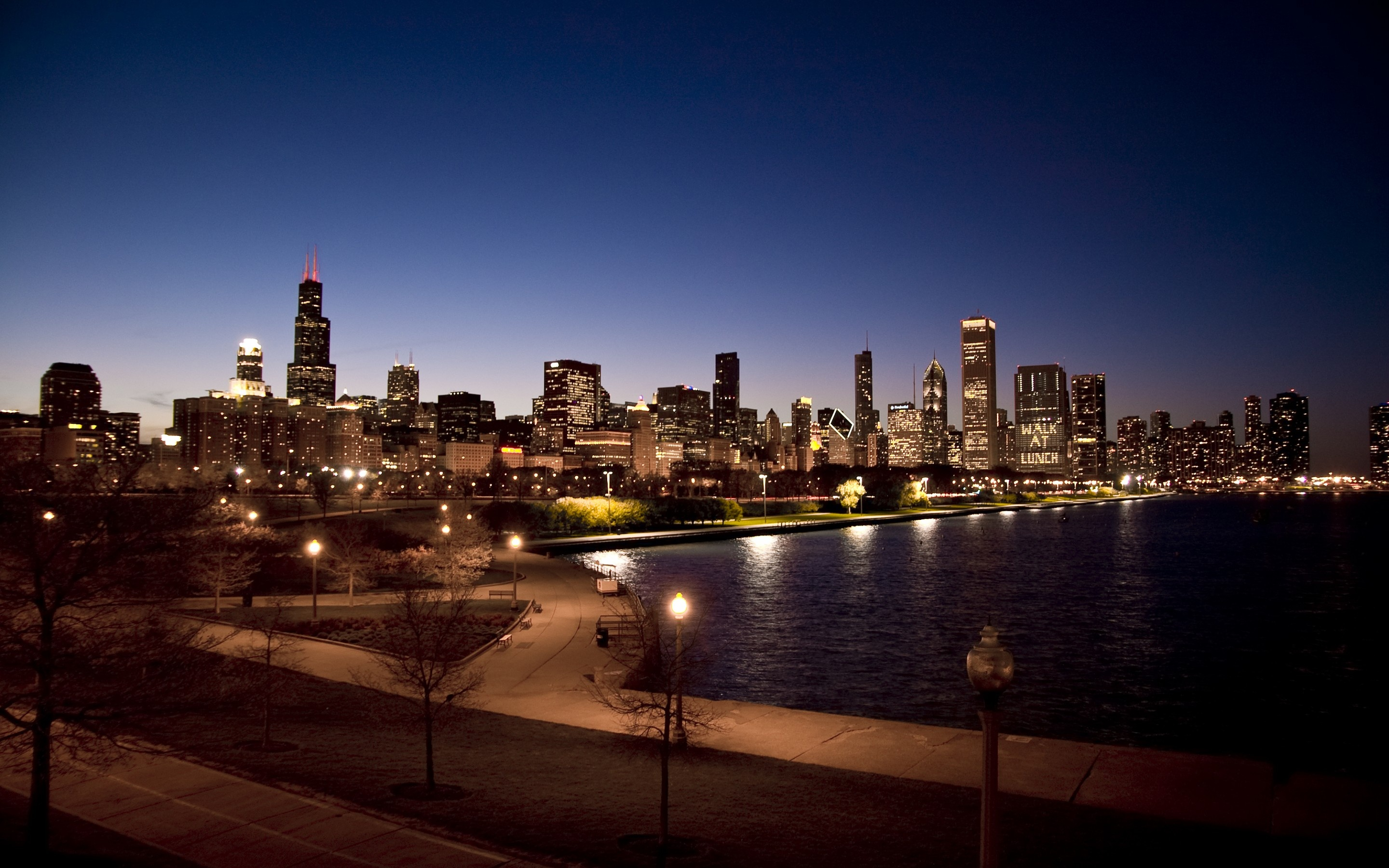 USA Night Chicago City Wallpapers