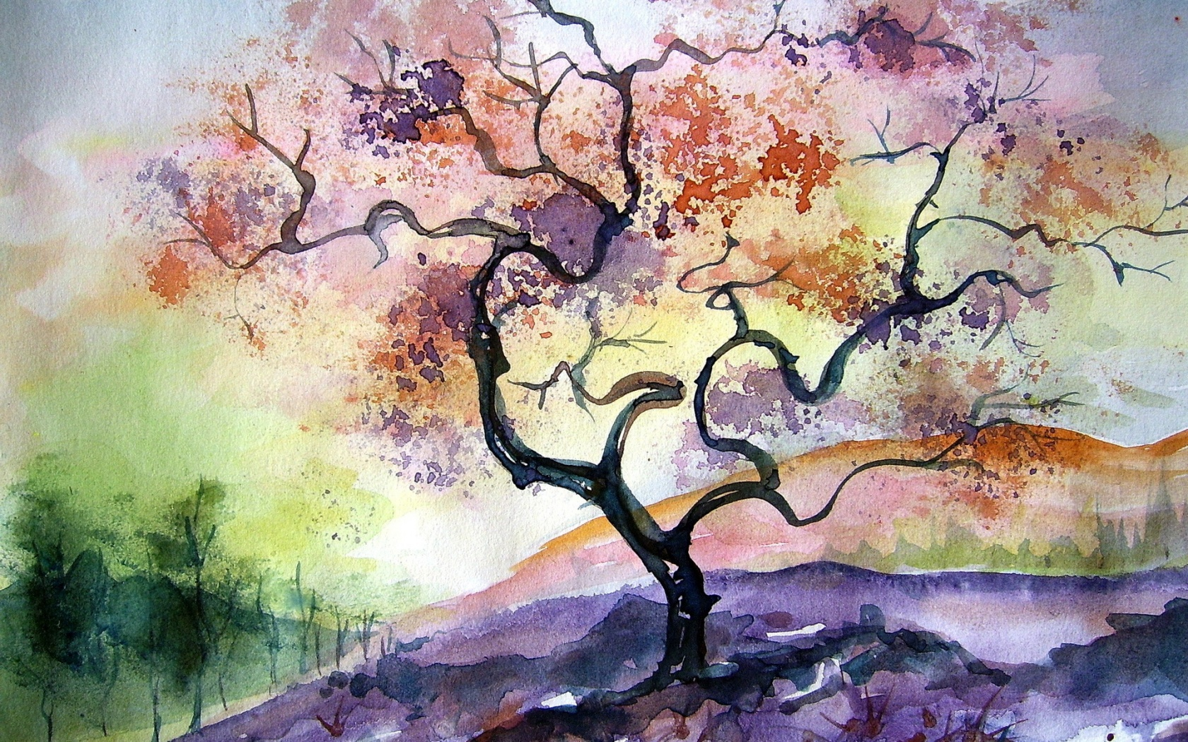 Watercolor tree painting | 1680 x 1050 | download | close