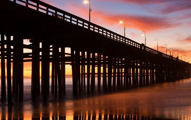 A Pier with Lampposts at Sunset (click to view)
