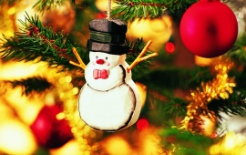 A Snowman On The Christmas Tree