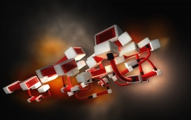 Abstract White And Red Cubic Construction