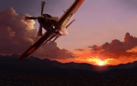 Airplane And Sunset Lights