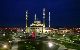 Akhmad Kadyrov Mosque At Blue Night