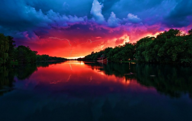 Amazing Red Sunset and Storm Clouds (click to view)