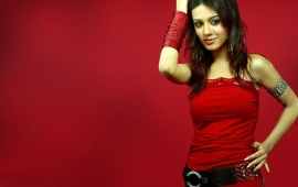 Amrita Rao In Red Dress In Short