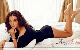 Amy Jackson Lying On Bed
