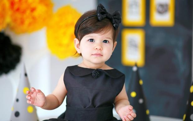 Angel Baby In Black Dress Wallpapers