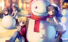 Anime Children And Snowman
