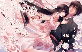 Anime Couple Pink Flower