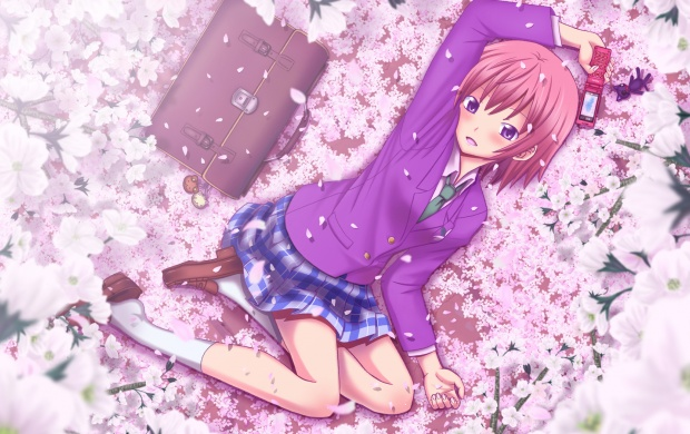 Anime Girl Enjoy Spring (click to view)