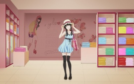 Anime Girl In Clothing Shop