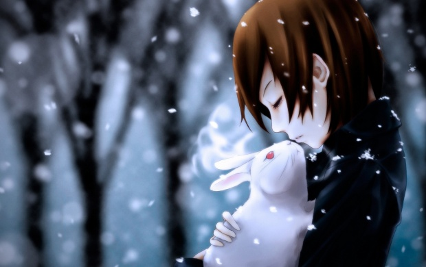 Anime Girl Rabbit And Snow (click to view)